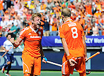 The Hague, Netherlands, June 13: Mink van der Weerden #30 of The Netherlands celebrates after scoring a penalty corner for the leading goal (1-0) during the field hockey semi-final match (Men) between The Netherlands and England on June 13, 2014 during the World Cup 2014 at Kyocera Stadium in The Hague, Netherlands. Final score 1-0 (1-0)  (Photo by Dirk Markgraf / www.265-images.com) *** Local caption *** Mink van der Weerden #30 of The Netherlands, Billy Bakker #8 of The Netherlands