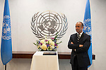 Swearing-in Ceremony:  The Secretary-General with Mr. Miguel de Serpa Soares, Under-Secretary-Genera
