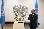 Swearing-in Ceremony:  The Secretary-General with Mr. Miguel de Serpa Soares, Under-Secretary-Genera