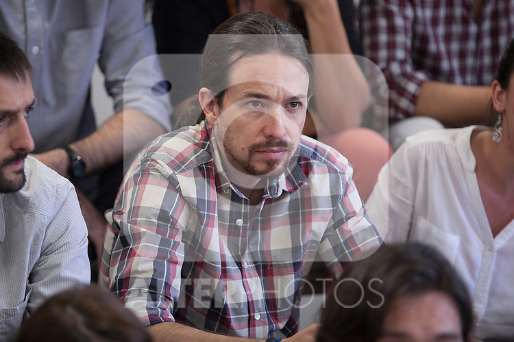 "`Podemos´ political party leader Pablo Iglesias during the presentation of ""Ruta del Cambio"" - Pablo Iglesias Tour in Madrid, Spain. June 18, 2015. (ALTERPHOTOS/Victor Blanco)"
