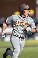Central Michigan Chippewas second baseman Jason Sullivan (10) runs to first base against the Michigan Wolverines on May 9, 2017 at Ray Fisher Stadium in Ann Arbor, Michigan. Michigan defeated Central Michigan 4-2. (Andrew Woolley/Four Seam Images)