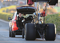 Nov 2, 2019; Las Vegas, NV, USA; Crew members for NHRA top fuel driver Leah Pritchett during qualifying for the Dodge Nationals at The Strip at Las Vegas Motor Speedway. Mandatory Credit: Mark J. Rebilas-USA TODAY Sports