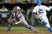 TCU's catcher Bryan Holaday  in Game 6 of the NCAA Division One Men's College World Series on Monday June 21st, 2010 at Johnny Rosenblatt Stadium in Omaha, Nebraska.  (Photo by Andrew Woolley / Four Seam Images)