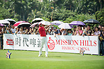 Wang Zhiwen tees off during the World Celebrity Pro-Am 2016 Mission Hills China Golf Tournament on 23 October 2016, in Haikou, Hainan province, China. Photo by Marcio Machado / Power Sport Images