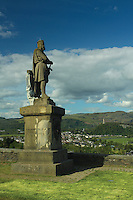 Robert the Bruce Statue, the Wallace Monument and the Ochil Hills from Stirling Castle<br /> <br /> Copyright www.scottishhorizons.co.uk/Keith Fergus 2011 All Rights Reserved