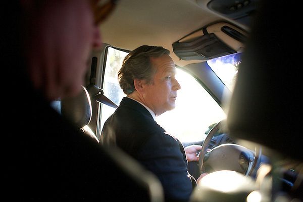 George W. Bush impersonator John Morgan drives to the Hawaiian Breeze restaurant during the Sunburst Convention of Professional Tribute Artists