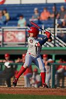 Auburn Doubledays Ricardo Mendez (3) at bat during a NY-Penn League game against the Batavia Muckdogs on June 18, 2019 at Dwyer Stadium in Batavia, New York.  Batavia defeated Auburn 7-5.  (Mike Janes/Four Seam Images)