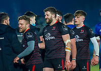 8th January 2021; RDS Arena, Dublin, Leinster, Ireland; Guinness Pro 14 Rugby, Leinster versus Ulster; The two teams at the full time whistle