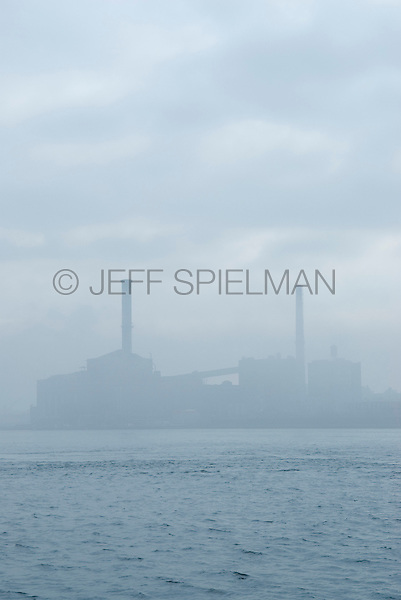 Industrial Scene - Electric Power Plant, Brooklyn, Viewed from the East River, New York City, New York State, USA