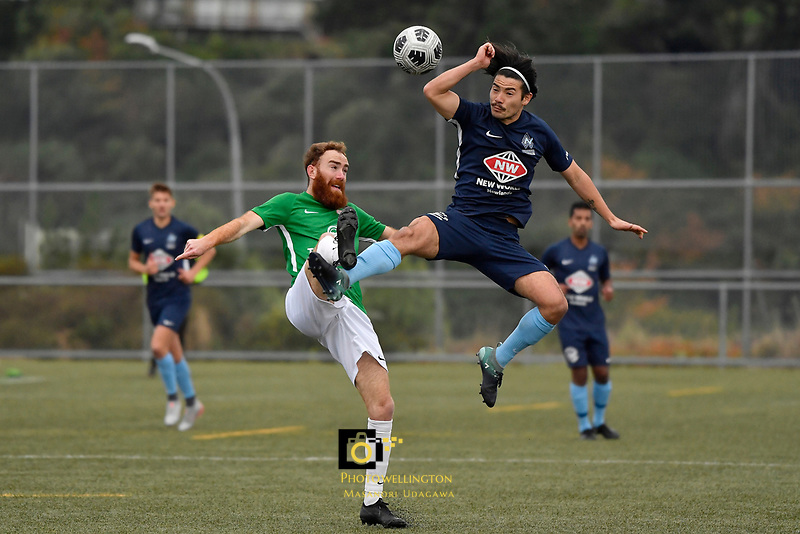 Hugo Delhommelle of the Wairarapa United competes for the ball with Gavin Hoy of the North Wellington FC during the Central League Football -  North Wellington FC v Wairarapa United at Alex Moore Park ( Alex Moore Artificial), Johnsonville, New Zealand on Saturday 29 May 2021.<br /> Copyright photo: Masanori Udagawa /  www.photosport.nz