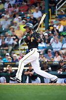 Pittsburgh Pirates shortstop Pedro Florimon (17) at bat during a Spring Training game against the Toronto Blue Jays  on March 3, 2016 at McKechnie Field in Bradenton, Florida.  Toronto defeated Pittsburgh 10-8.  (Mike Janes/Four Seam Images)