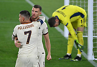 Football: Europa League - quarter finals 2nd leg AS Roma vs Ajax, Olympic Stadium. Rome, Italy, March 15, 2021.<br /> Roma's Edin Dzeko (C) celebrates after scoring with his teammate Lorenzo Pellegrini (L) during the Europa League football match between Roma at Rome's Olympic stadium, Rome, on April 15, 2021.  <br /> UPDATE IMAGES PRESS/Isabella Bonotto