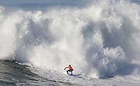 Greg Long surfs during the final heat as he wins the 2008 Mavericks Surf Contest in Half Moon Bay, Calif., Saturday, January 12, 2008.