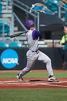 Justice Bigbie (7) of the Western Carolina Catamounts follows through on his swing against the Kennesaw State Owls at Springs Brooks Stadium on February 22, 2020 in Conway, South Carolina. The Owls defeated the Catamounts 12-0.  (Brian Westerholt/Four Seam Images)
