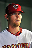 21 June 2010: Washington Nationals' rookie starting pitcher Stephen Strasburg watches play from the dugout  during a game against the Kansas City Royals at Nationals Park in Washington, DC. The Nationals edged out the Royals 2-1 in the first game of their 3-game interleague series, snapping a 6-game losing streak. Mandatory Credit: Ed Wolfstein Photo