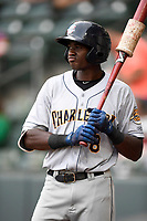 Center fielder Estevan Florial (8) of the Charleston RiverDogs bats in a game against the Greenville Drive on Thursday, July 27, 2017, at Fluor Field at the West End in Greenville, South Carolina. Charleston won, 5-2. (Tom Priddy/Four Seam Images)