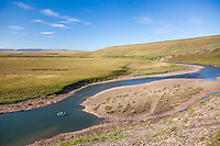 Rafters on the Utukok river, National Petroleum Reserve Alaska, Arctic, Alaska.