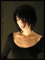 Portrait of Martine in black scoop neck