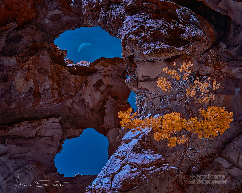 Crescent Moon through Double Barrel Arch (Infrared) ©2017 James D Peterson.  This unusual arch, in the Vermilion Cliffs National Monument and name notwithstanding, has at least three windows.