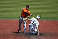 Shea Gutierrez (3) of the UTSA Roadrunners makes a throw to first base after forcing out Parker Stinnett (1) of the Charlotte 49ers at second base at Hayes Stadium on April 18, 2021 in Charlotte, North Carolina. (Brian Westerholt/Four Seam Images)