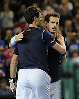 Andy Murray (GB), MARCH 05, 2016 - Tennis : Andy Murray (GB) celebrates with his brother and doubles partner Jamie Murray (GB) after hitting the winning shot during the Davis Cup by PNB Paribas , World Group first round doubles match between Great Britain and Japan at The Barclaycard Arena, Birmingham, United Kingdom. (Photo by Rob Munro/AFLO)