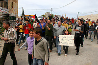 Residents of the Palestinian village Nabi Saleh, Israeli and international activists march during a demonstration against the confiscation of their lands by the adjacent Jewish-only settlement of Halamish. For the last weeks the villagers have been holding regular demonstrations, which encountered aviolent reaction from the IDF forces. Photo by Quique Kierszenbaum