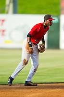 Kannapolis Intimidators shortstop Tim Anderson (2) on defense against the West Virginia Power at CMC-Northeast Stadium on July 9, 2013 in Kannapolis, North Carolina.  The Power defeated the Intimidators 3-1.   (Brian Westerholt/Four Seam Images)