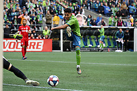 SEATTLE, WA - NOVEMBER 10: Raul Ruidiaz #9 of the Seattle Sounders FC watches his shot roll wide during a game between Toronto FC and Seattle Sounders FC at CenturyLink Field on November 10, 2019 in Seattle, Washington.