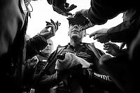 Philippe Gilbert (BEL/BMC) giving post-race interviews<br /> <br /> 2014 Milano - San Remo