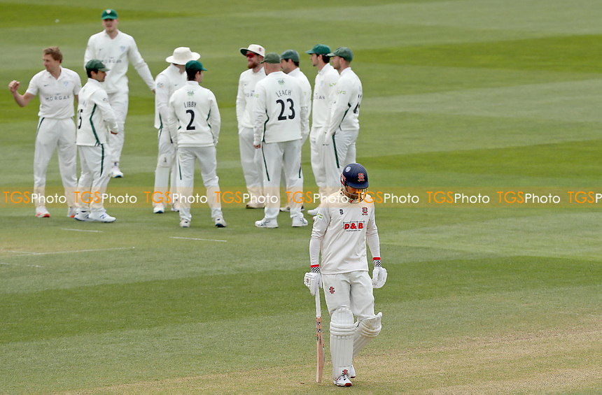 Sir Alastair Cook of Essex leaves the field having been given out lbw to Charlie Morris during Essex CCC vs Worcestershire CCC, LV Insurance County Championship Group 1 Cricket at The Cloudfm County Ground on 8th April 2021