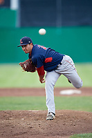 Lowell Spinners relief pitcher Rio Gomez (47) delivers a pitch during a game against the Batavia Muckdogs on July 16, 2018 at Dwyer Stadium in Batavia, New York.  Lowell defeated Batavia 4-3.  (Mike Janes/Four Seam Images)
