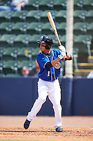 Biloxi Shuckers second baseman Nick Shaw (1) at bat during a game against the Birmingham Barons on May 24, 2015 at Joe Davis Stadium in Huntsville, Alabama.  Birmingham defeated Biloxi 6-4 as the Shuckers are playing all games on the road, or neutral sites like their former home in Huntsville, until the teams new stadium is completed in early June.  (Mike Janes/Four Seam Images)
