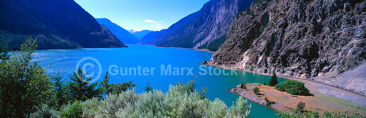 Seton Lake and Coast Mountains near Lillooet, BC, British Columbia, Canada - Panoramic View