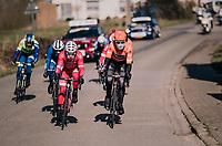 when the breakaway group looks more like a 'getaway group'...<br /> (because of freezing temperatures)<br /> <br /> Omloop Het Nieuwsblad 2018<br /> Gent › Meerbeke: 196km (BELGIUM)