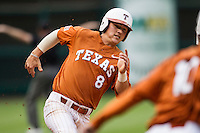 Texas Longhorns second baseman Brooks Marlow #8 rounds third base heading home during the NCAA baseball game against the Houston Cougars on March 1, 2014 during the Houston College Classic at Minute Maid Park in Houston, Texas. The Longhorns defeated the Cougars 3-2. (Andrew Woolley/Four Seam Images)