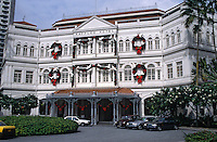 Asie/Singapour/Singapour: Raffles Hôtel - Détail de la façade du célèbre hôtel