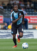 Marcus Bean of Wycombe in action during the Sky Bet League 2 match between Wycombe Wanderers and Dagenham and Redbridge at Adams Park, High Wycombe, England on 22 August 2015. Photo by Andy Rowland.