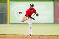 Kannapolis Intimidators shortstop Tim Anderson (2) makes a throw to first base against the Greensboro Grasshoppers at CMC-Northeast Stadium on July 13, 2013 in Kannapolis, North Carolina.  The Intimidators defeated the Grasshoppers 7-5.   (Brian Westerholt/Four Seam Images)