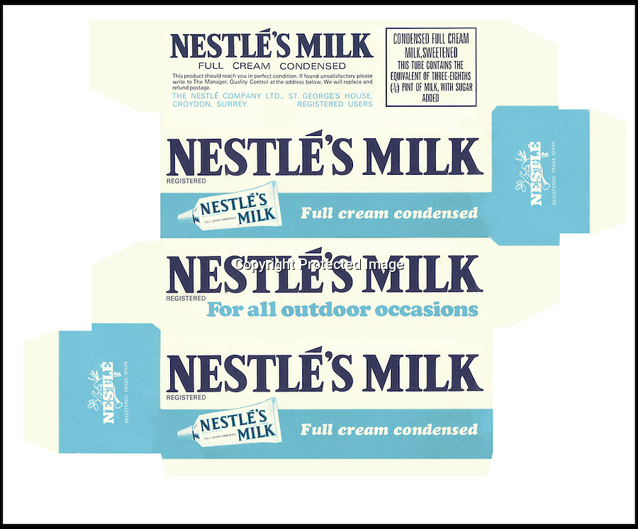 BNPS.co.uk (01202 558833)<br /> Picture: Nestle/BNPS<br /> <br /> ****Please use full byline****<br /> <br /> Nestles Milk.<br /> <br /> A selection of vintage chocolate and sweets wrappers have been unearthed to help trigger happy memories in dementia sufferers.<br /> <br /> Some of the earliest examples of the Rowntrees packaging dates from the 1920s and includes the first wrappers for famous treats such as Aero, Dairy Box, and Fruit Gums.<br /> <br /> As the brands were updated over the years the paper casing was gradually changed but examples of the early versions were stored in an archive.<br /> <br /> Historians at Rowntrees have now placed images of the packets on an online document so that they can be seen by dementia sufferers as a way to reminisce.