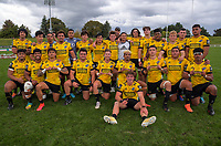 The Hurricanes pose for a group photo after the 2021 Bunnings Super Rugby Aotearoa Under-20 rugby match between the Hurricanes and Highlanders at Owen Delaney Park in Taupo, New Zealand on Tuesday, 14 April 2021. Photo: Dave Lintott / lintottphoto.co.nz