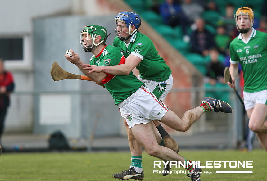 Ciaran McGrath of Loughmore/Castleiney in action against Liam Ryan of Drom Inch during the Centenary Agri Mid Senior Hurling Championship Quarter Final between Loughmore/Castleiney and Drom Inch on Saturday 28th April 2018 at Templetuohy, Co Tipperary, Photo By Michael P Ryan