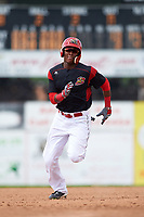 Batavia Muckdogs shortstop Marcos Rivera (8) running the bases after hitting a triple during a game against the Tri-City ValleyCats on July 16, 2017 at Dwyer Stadium in Batavia, New York.  Tri-City defeated Batavia 13-8.  (Mike Janes/Four Seam Images)