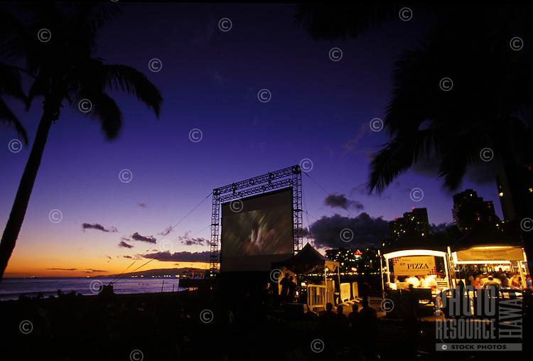 "Movie at """"Sunset at the beach""""  Waikiki"