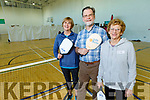 Breda Quirke (Camp), Pat O'Brien (Fossa Active Retirement) and Cis Scanlon (Lixnaw) ready for action at Pickleball at the Mitchel's GAA Complex on Monday