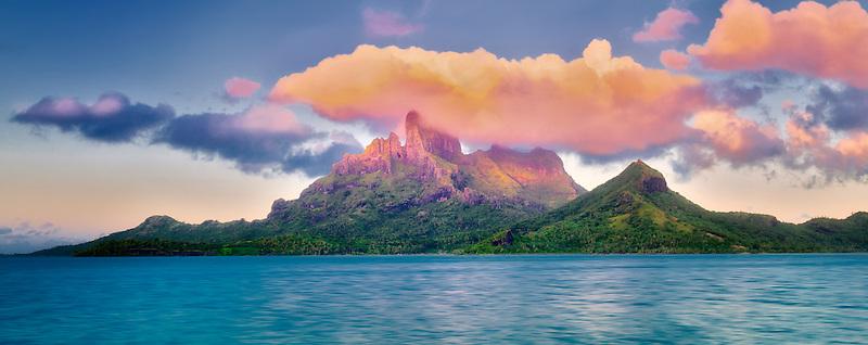Sunrise and Mt. Otemanu. Bora Bora. French Polynesia