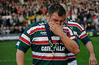 Julian White of Leicester Tigers shows his emotion at the end of the LV= Cup Final match between Leicester Tigers and Northampton Saints at Sixways Stadium, Worcester on Sunday 18 March 2012 (Photo by Rob Munro, Fotosports International)