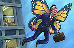 Illustrative image of businessman with wings representing business travel
