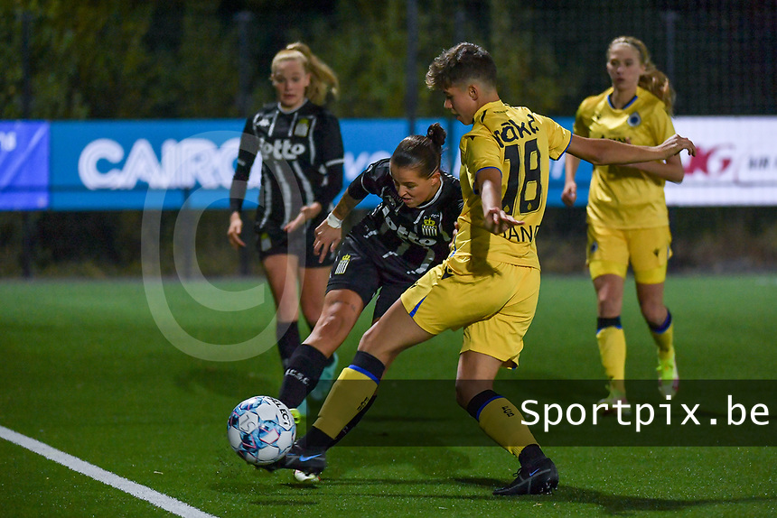 Alysson Duterne (14) of Sporting du Pays de Charleroi and Isabelle Iliano (18) of Club Brugge pictured during a female soccer game between Sporting Charleroi and Club Brugge YLA on the sixth matchday in the 2021 - 2022 season of Belgian Scooore Womens Super League , friday 8 October 2021 in Marcinelle , Belgium . PHOTO SPORTPIX | STIJN AUDOOREN