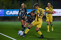 Alysson Duterne (14) of Sporting du Pays de Charleroi and Isabelle Iliano (18) of Club Brugge pictured during a female soccer game between Sporting Charleroi and Club Brugge YLA on the sixth matchday in the 2021 - 2022 season of Belgian Scooore Womens Super League , friday 8 October 2021 in Marcinelle , Belgium . PHOTO SPORTPIX   STIJN AUDOOREN