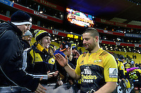 Fans congratulate Dane Coles after the Super Rugby final match between the Hurricanes and Lions at Westpac Stadium, Wellington, New Zealand on Saturday, 6 August 2016. Photo: Marco Keller - www.polomedia.co.nz / lintottphoto.co.nz